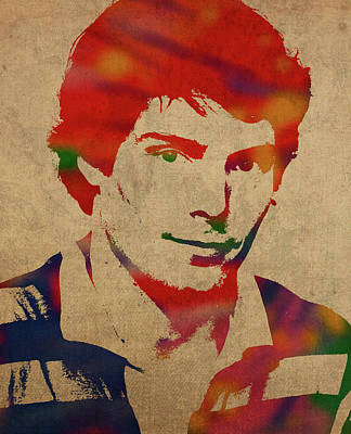 Christopher Reeve Watercolor Portrait Poster