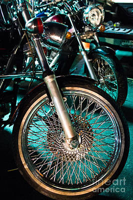 Chrome Rim And Front Fork Of Vintage Style Motorcycle Poster by Jason Rosette