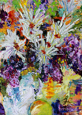 Poster featuring the painting Chrysanthemums And Lilacs Still Life by Ginette Callaway