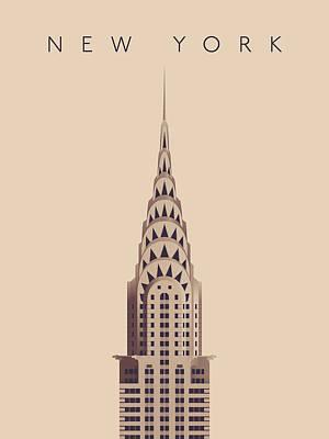 Chrysler Building - Detail Vintage Poster by Ivan Krpan