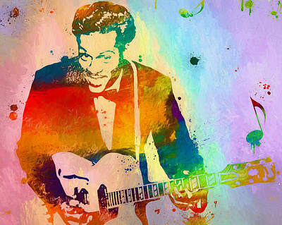 Chuck Berry Paint Splatter Poster by Dan Sproul