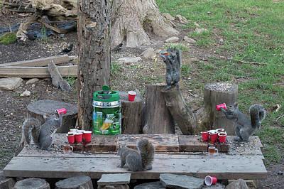 Chugging Squirrels At Beer Pong Poster