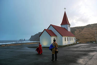 Poster featuring the photograph Church Above Reynisfjara Black Sand Beach, Iceland by Dubi Roman