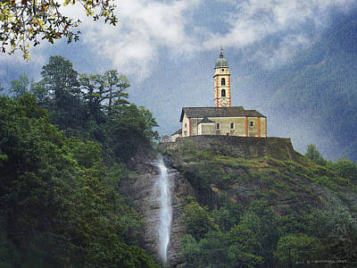 Church And Waterfall In Italy Poster