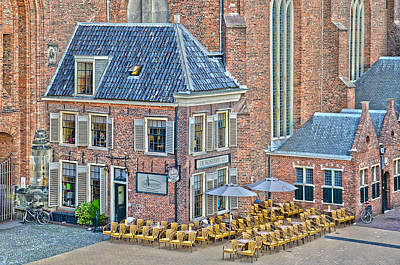 Poster featuring the photograph Church Cafe In Groningen by Frans Blok