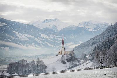 Church In Alpine Zillertal Valley In Winter Poster