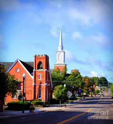 Poster featuring the photograph Church On Main Street - Christiansburg Virginia  by Kerri Farley