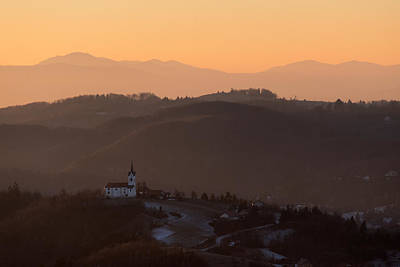 Church On The Hill At Sunrise Poster by Blaz Gvajc