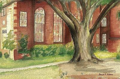 Poster featuring the painting Church Tree by Denise Fulmer
