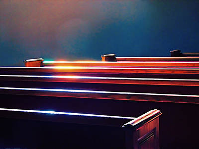 Churchlight -- Pews Under Stained Glass Poster