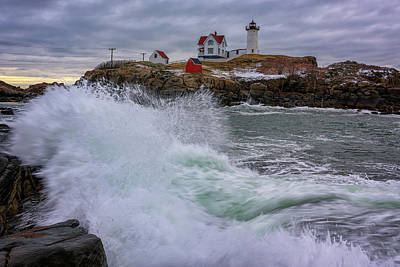 Poster featuring the photograph Churning Seas At Cape Neddick by Rick Berk