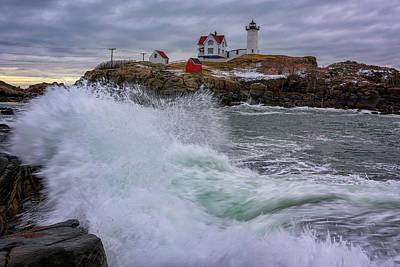 Churning Seas At Cape Neddick Poster