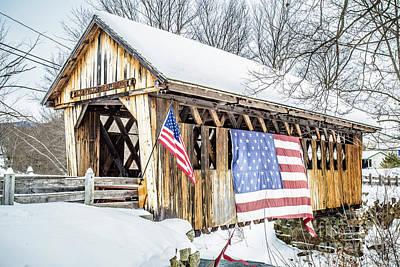 Cilleyville Bog Bridge Covered Bridge New Hampshire Poster by Edward Fielding