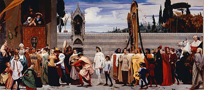 Cimabue's Madonna Carried In Procession Poster by Frederic Leighton