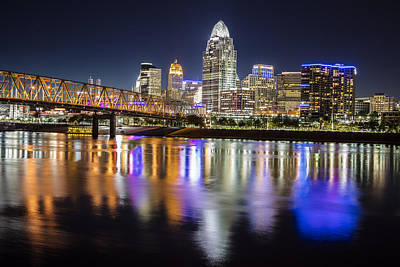 Cincinnati Blue Hour Reflection Poster by John McGraw