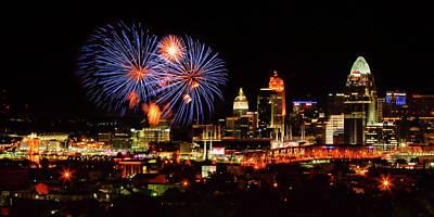 Cincinnati Fireworks In Blue Poster