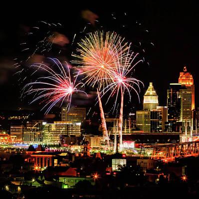 Cincinnati Fireworks Orange Poster