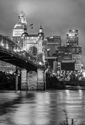 Poster featuring the photograph Cincinnati Ohio Skyline And Bridge - Black And White by Gregory Ballos