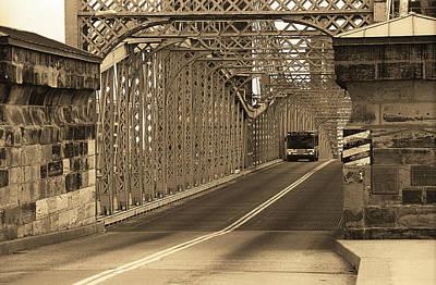 Cincinnati - Roebling Bridge 1 Sepia Poster by Frank Romeo