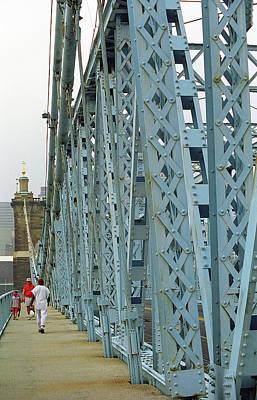 Cincinnati - Roebling Bridge 3 Poster by Frank Romeo