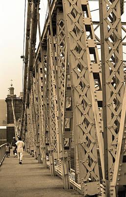 Cincinnati - Roebling Bridge 3 Sepia Poster by Frank Romeo
