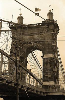 Cincinnati - Roebling Bridge 4 Sepia Poster by Frank Romeo
