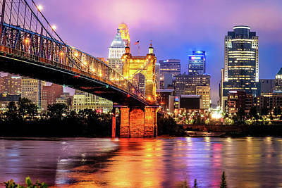 Cincinnati Skyline And Bridge Art - Ohio Cityscape Photography Poster by Gregory Ballos
