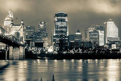 Cincinnati Skyline And Bridge Art - Ohio River Print - Cityscape Photography Black And White - Sepia Poster by Gregory Ballos