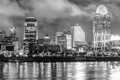 Poster featuring the photograph Cincinnati Skyline And The Great American Ballpark - Black And White by Gregory Ballos