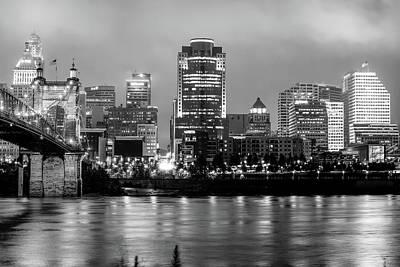 Cincinnati Skyline Art - Ohio River Print - Cityscape Photography Black And White Poster