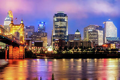 Cincinnati Skyline Art - Ohio River Print - Cityscape Photography Poster by Gregory Ballos