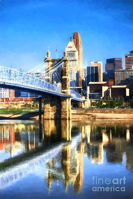 Cincinnati Skyline River Reflections Poster by Mel Steinhauer