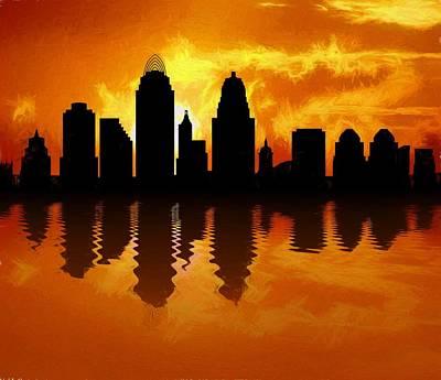 Cincinnati Skyline Sunset Reflection Poster by Dan Sproul