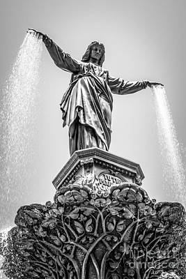 Cincinnati Tyler Davidson Fountain Black And White Picture Poster by Paul Velgos