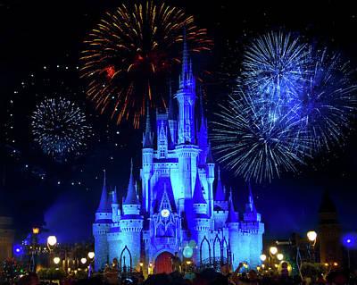 Cinderella Castle Fireworks Poster