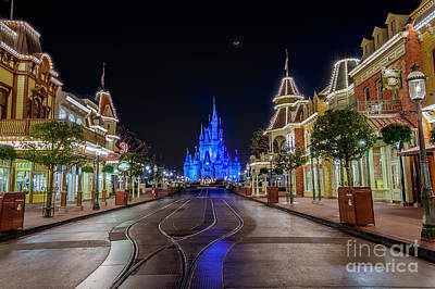 Cinderella Castle Glow Over Main Street Usa Poster