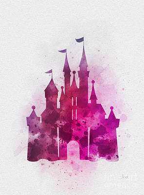 Cinderella Castle Pink Poster by Rebecca Jenkins