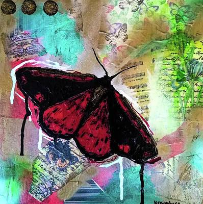 Poster featuring the mixed media Cinnabar Butterly by Lisa McKinney