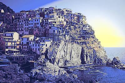 Cinque Terre Italy Blue Meditteranean Poster