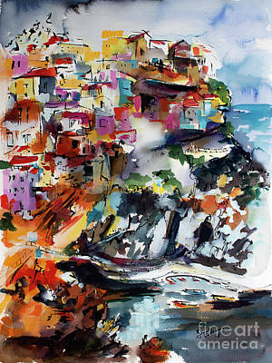 Poster featuring the painting Cinque Terre Italy Manarola by Ginette Callaway