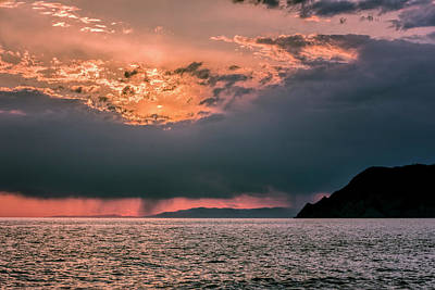 Cinque Terre Italy Sunset Poster by Joan Carroll
