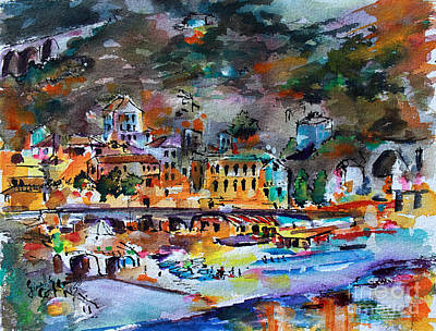 Poster featuring the painting Cinque Terre Monterosso At Night by Ginette Callaway
