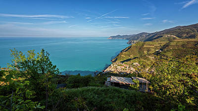 Cinque Terre Panorama Poster by Joan Carroll