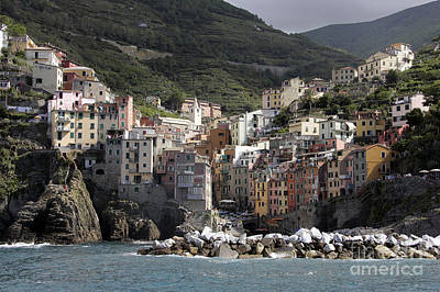 Cinqueterre From The Sea Poster by Stan and Anne Foster