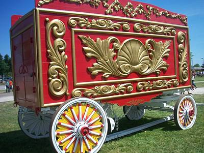 Circus Car In Red And Gold Poster by Anita Burgermeister