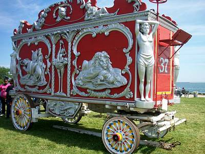 Circus Car In Red And Silver Poster by Anita Burgermeister