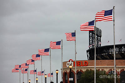 Citifield And American Flags Poster by Nishanth Gopinathan
