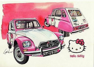 Citroen Dyane Hello Kitty Poster by Yoshiharu Miyakawa