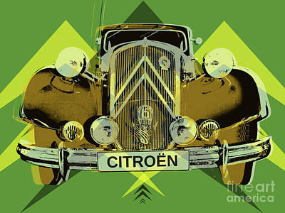 Poster featuring the digital art Citroen Traction Avant  by Jean luc Comperat