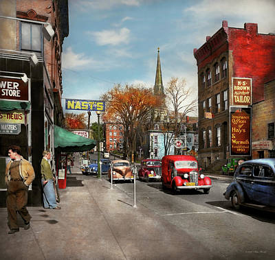 Poster featuring the photograph City - Amsterdam Ny - Downtown Amsterdam 1941 by Mike Savad
